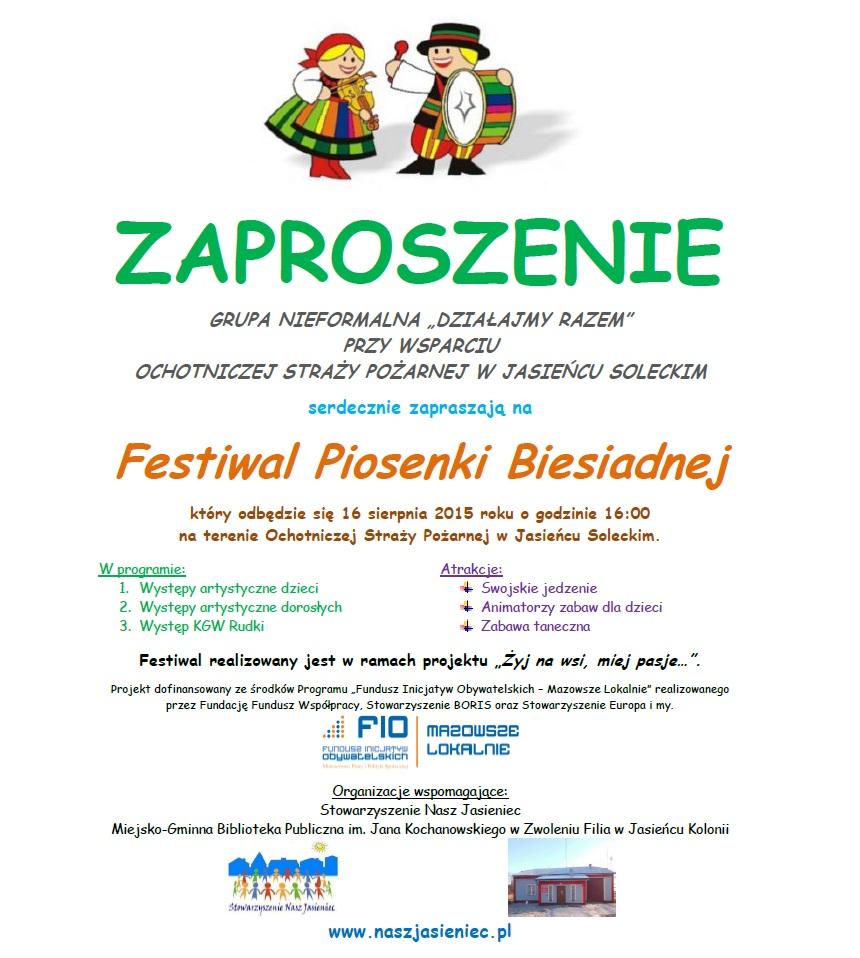Zaproszenie Na Festiwal Piosenki Biesiadnej W Jasieńcu Soleckim